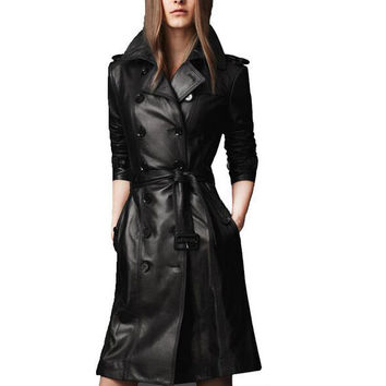 2016 Spring & Winter Fashion Women Luxury Black Pu Leather Trench Super Slim Double Breasted Turn Down Collar Coat Female S-XXXL