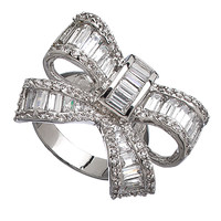 Vivian Jacob Silver and CZ Bow Ring - Max & Chloe