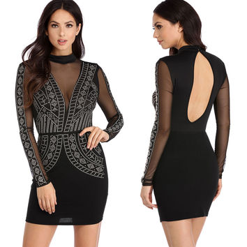 Black Sheer Mesh Insert Back Cutout Beaded Bodycon Dress