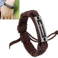 Fashion Men Women Unisex Vintage Brown PU Leather Bracelet With Alloy Metal Cross Pattern Cuff Charm Bangle = 1706375108
