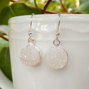 White Druzy Earrings Sterling Silver Drusy Snow Quartz Round Circle Drops - Free Shipping Jewelry