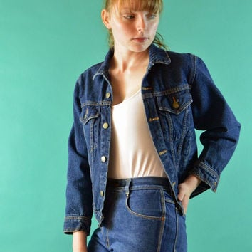 Vintage 80s Denim Jacket / Cropped Shrunken Fit Denim Blue Jean Jacket / Dark Denim Womens Jean Jacket Plain Pockets Denim Jacket XS / S