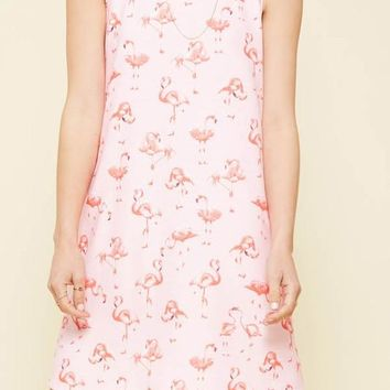 flamingo print knit mini dress