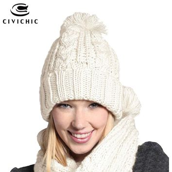 CIVICHIC Classic Warm Set Women's Knit Scarf Hat for Winter Crochet Headwear Pompon Beanies Skullies Twist Thicken Shawl SH162