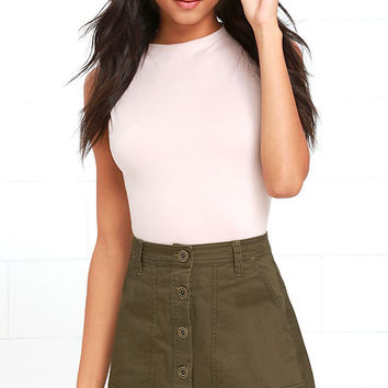 Rhythm Pacific Olive Green A-Line Skirt