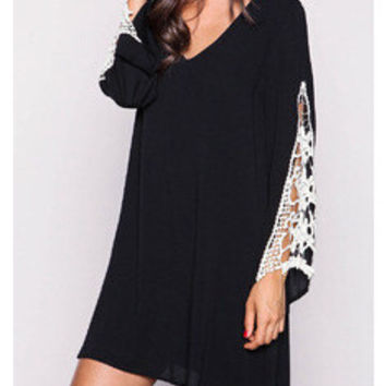 V-neck Loudspeaker Winter One Piece Dress [6339084033]