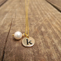 Gold Initial Necklace . Initial Pearl Drop Necklace