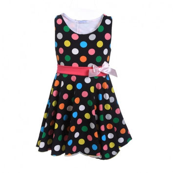 Baby Kids Children Girl Fashion Casual Round Neck Sleeveless Patchwork Polka Dot Bow A-Line Tank Dress