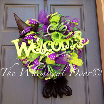 Petite Witch Hat and Legs Wreath Witch Wreath Halloween Wreath Teacher Classroom Door Office Door