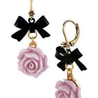BetseyJohnson.com - FABULOUS FLOWERS BOW EARRING PURPLE