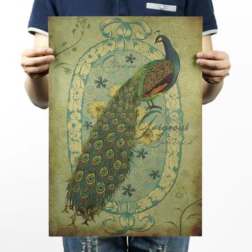 Hand-painted Peacock Vintage Kraft Paper Movie Poster Home Decor Wall Decals Art Removable Retro Painting
