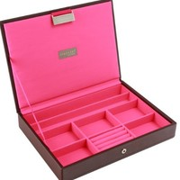 Stackers   Jewelry Box   classic chocolate brown & bright pink stacker lid
