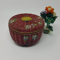 Vintage Japanese Red Dogwood Floral Round Wicker Box Sewing Stash Basket