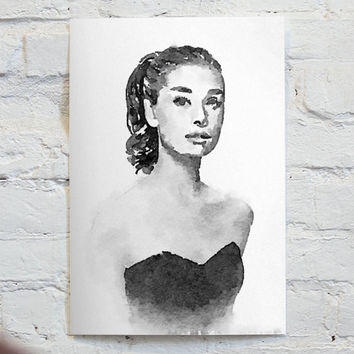 Watercolor Audrey Hepburn portrait - An Unframed Canvas Paper / Watercolor-Style, Contemporary & Modern Portrait Wall Art digital Print