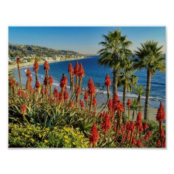 Beautiful Nature Beach with Palm Trees Poster