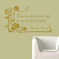 Vinyl Decals Marilyn Monroe Woman Laugh Quote Home Wall  Decor Removable Sticker Mural L603  Unique Design Bed Room Office