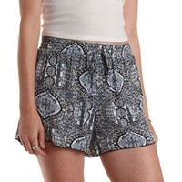 Gray Combo Lace Gusset Printed High-Waisted Shorts by Charlotte Russe