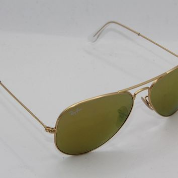 RAY-BAN RB 3025 AVIATOR LARGE METAL 112/93 GOLD FRAME MIRRORED SUNGLASSES 58-14