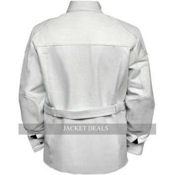 Leather Skin Men Women Unisex White Belted Genuine Leather Jacket