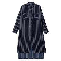 Vertical Striped Long Shirt (Navy) | STYLENANDA