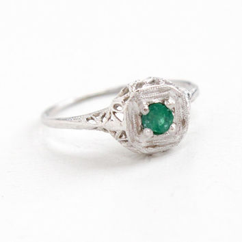 Antique 18k White Gold Solitaire Emerald Filigree Ring - Vintage Art Deco 1920s 1930s Floral Open Metal Work Fine Jewelry
