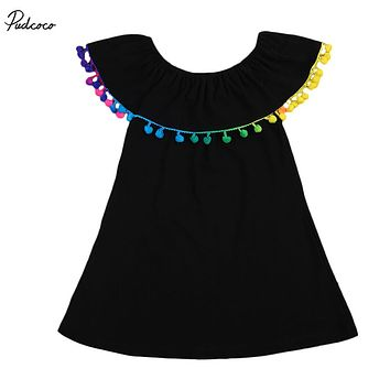 2017 New Baby Girls Toddler Summer Dresses Clothes Rainbow Colorful Tassels Ruffle Princess Party Sleeveless Dress 1-6Y