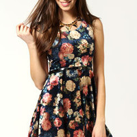 Frankie Floral Velvet Cap Sleeve Skater Dress