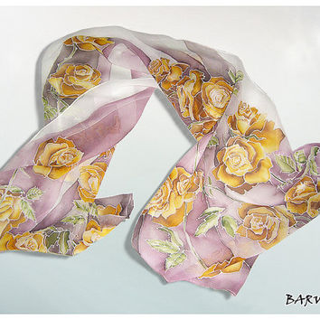 Silk scarf ' Gold Roses ' hand painted - gold , white , pink - gift for women