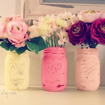 Pink Lemonade Decor, 3 Painted Mason Jars, Wedding Centerpiece Decor,Baby Shower ,Yellow and  Pink,Vase,Girl Birthday,Shabby Decor
