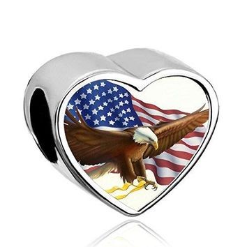 CharmSStory USA Flag Design Eagle Post Heart Photo Charm Independence Day Beads For Bracelets