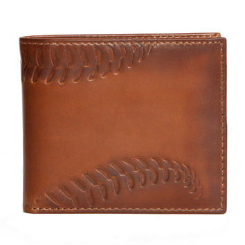 BASEBALL DOUBLE ID Embossed Leather Bifold Wallet - Mens Wallet - Leather Wallet - Bifold