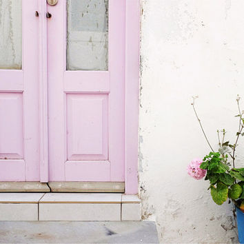 "Pink Door photograph - Greece photography - pastel pink decor art print - greece travel architecture photography ""Pastel Pinks"""