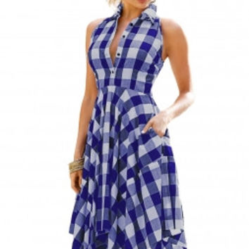 Blue White Denim Checks Flared Shirtdress LAVELIQ