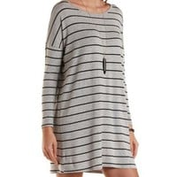 Black Combo Long Sleeve Striped T-Shirt Dress by Charlotte Russe