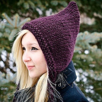 Hand Knit Hat  Pixie Hat in Aubergine Purple  Winter by pixiebell