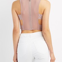 Caged Mesh-Back Crop Top