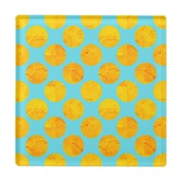 Sun and Sea Yellow and Blue Polka Dot Glass Coaster