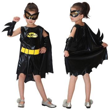 Cool Halloween Christmas Batman Girls Superhero Cosplay Costumes Carnival Party For Children Batgirl Clothes Fancy dress cloakAT_93_12