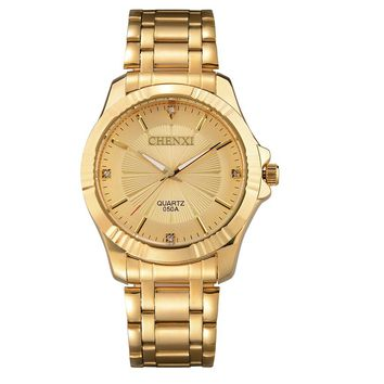 Gold Stainless Steel Quartz Wrist Watch For Men