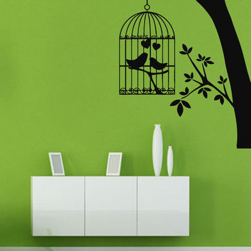 Wall Decals Vinyl Decal Sticker Mural Decor Love Birds in Cage Tree Design Kj323