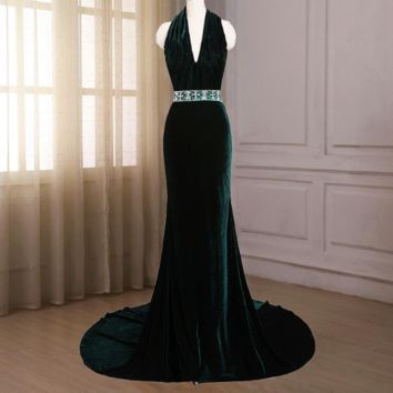 Evening Dress Green Velour Halter The Married Banquet Elegant Long Party Prom Dresses