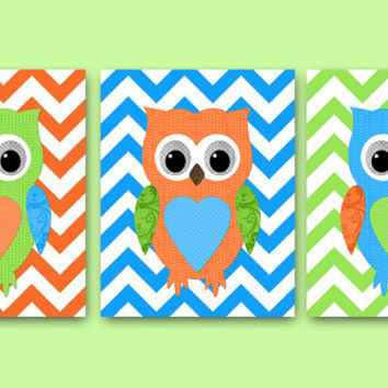 Baby Nursery Decor Owl Wall Decor Girl Baby Boy Nursery Decor Kids Room Decor Kids Wall Art Kids Art Boy Print set of 3 Green Orange Blue /