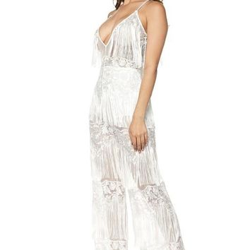 Fringe Layered Sleeveless Jumpsuit