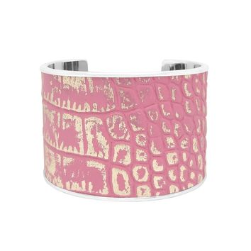 Bubble Gum Pink Silver Metallic Crocodile Embossed Leather Bracelet Cuff Extra Wide
