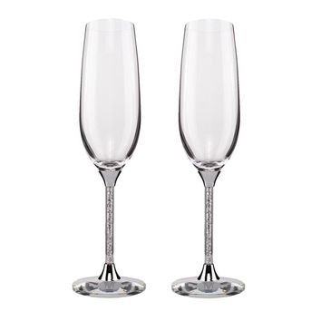 KEYTREND Champagne Glass Flutes Perfect for Wedding Gifts, Set of 2, Luxury K9 Crystal Toasting Flutes and Wine Glasses AECL003