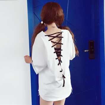 Women Batwing Sleeve T-shirt V Neck Back Hollow Out Lace Up Tie Lolita Punk Goth Gothic Loose Baggy Boyfriend Style