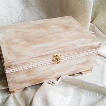 Wooden wedding cards box rustic looking old vintage cotton lace shabby chic custom