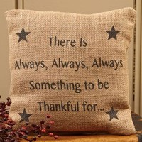 There is Always Something to be Thankful For - French Flea Market Burlap Accent Throw Pillow - 8-in x 8-in