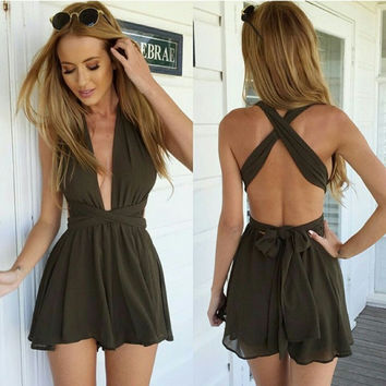 Summer Women's Fashion Sexy Deep V Chiffon Jumpsuit [7278856391]
