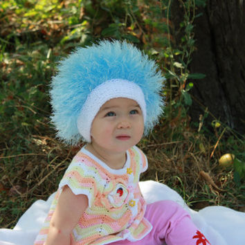 Baby hats / Cabbage Patch Kids Hat  / Beanie Wig  / Children  fuzzy hat  / Baby costume / Halloween Costume / Blue